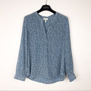 Joie Blue and White Dotted Silk Blouse